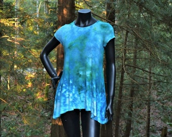 Arcadia - Short Sleeve Tie Dye Tunic with Side Pockets, tie dye, rayon shirt, plus size tops,