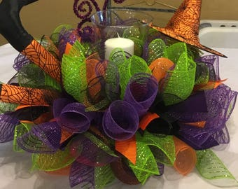 Ready To Ship Halloween Candle Ring  , Deco Mesh Halloween Centerpiece ,  Halloween Table Wreath , Halloween Witch Candle Holder.