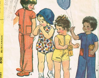 70s Toddler Playsuit Romper Pattern Mccalls 3143 Size 4  Playsuits, Romper and Stuffed Pocket Toy Play Clothes Vintage 1972 Sewing Pattern