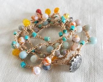 Wrap Bracelet or Necklace, Crocheted, Beaded, Hippie, Boho Style