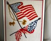 Vintage patriotic yarn art American Flag framed Stars and Stripes needlework