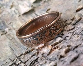 Copper Coin Ring - India One Quarter Anna Coin Ring 1930 - Leaf Pattern - Size: 9 - A Remark You Made