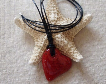 Fused Glass Heart Pendant, Red Flecked Glass, Genuine Leather Cord Necklace