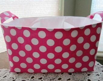Diaper Caddy Organizer Pink and White Polka Dots Bin Storage Basket