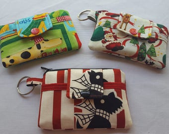 Zipper Mini Wallet Pouch Key Chain Card Holder -  Christmas Santa Claus - Dogs - Scottish Terrier -