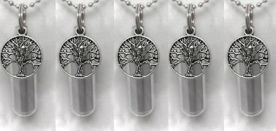 5 PIECE SPECIAL SET - Silver Cremation Urn / Vial Keepsake with Silver Tree Of Life - with Velvet Pouches & Fill Kit