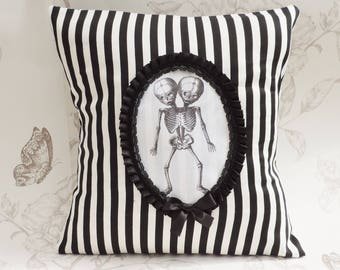 Conjoined twins pillow - Gothic victorian pillow- siamese pillow -cushion black and white stripes- halloween- macabre- gothic  home decor