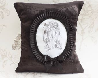 Alice cheshire cat pillow cushion - gothic striped cushion- Alice in wonderland pillow cushion - cameo pillow -gothic home decor