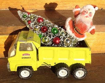 SALE Christmas chartruese lime green Tonka dump, decorated Christmas tree, Santa Claus. Mantle decor. Holiday decoration. Christmas decor.