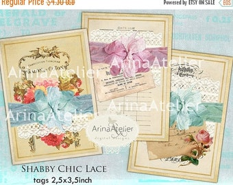 SALE - 30%OFF - Shabby Chic Lace Tags - Gift Tags - Digital Tag - Digital Collage Sheet - Digital Download - Digital ATC Cards