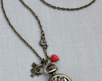 VACATION SALE- Alice in Wonderland Pocket Watch Necklace in Antique Brass