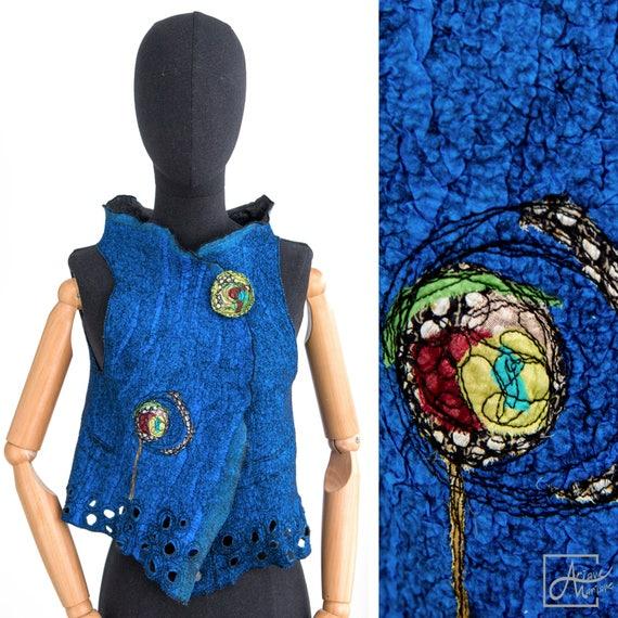 Outstanding Wearable Art Vest - Felted Merino Wool Woman Vest - Cobalt blue nuno felt Paris Design - Reversible Women Vest / Bolero