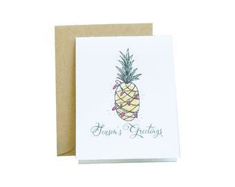 Box of 8 Pineapple Holiday Card, Pineapple, Watercolor, Christmas Card Set, Holiday Cards, Modern Calligraphy, Home for the Holidays