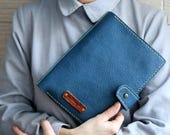 """Turquoise Leather notebook binder, 6 ring binders """"Blue leaves"""""""