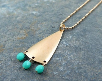 Triangle Pendant Necklace Geometric Jewelry Gold Triangle Necklace Turquoise Beaded Jewelry