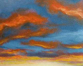ORIGINAL OIL PAINTING Fine Art Sunset #10 Signed by Linda Merchant Oil on Oil Paper Sun Clouds Mountains