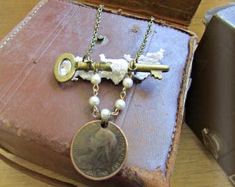 Steampunk Mori Girl Vintage Key and Half Penny Necklace - 1899