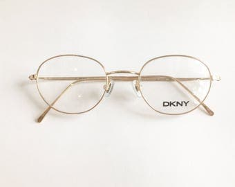 Vintage 1990's Donna Karan DKNY Round Gold Eyeglasses