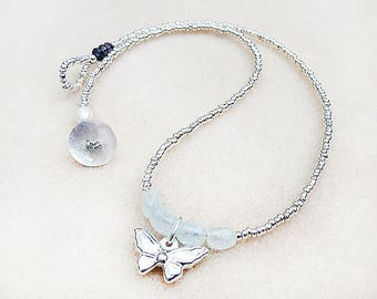 Butterfly, Necklace, Boho, Sterling Silver, Butterfly, Charm, Aquamarine, Iolite, Pearl, Aqua, Silver, Handmade, Gift for Teen, Gift for Her