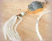 Blue Sirène Necklace. Druzy, Crystal, Opalite