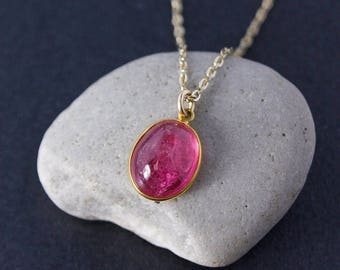 ON SALE Gold Natural Pink Tourmaline Necklace – Oval Tourmaline Necklace