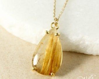 ON SALE Gold Teardrop Natural Golden Rutile Quartz Pendant Necklace