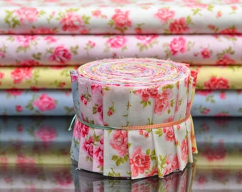 "Scrumptious Quilt 20 strips 2.5x44"" Jelly Roll English Floral Roses in Multi Colored"