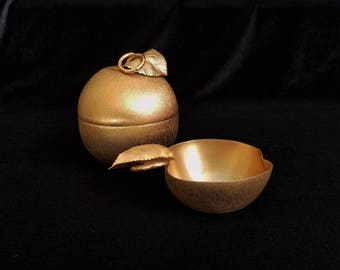 Vintage Napier Gold Plated Apple Lighter and Ash Tray, Evans and Napier Lighter Ashtray Set, Collectible Table Lighters, Golden Apple 1951