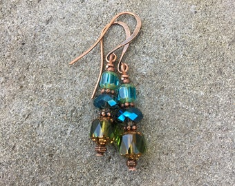 Bohemian glass earrings, boho gypsy, blue green beaded, czech glass, peacock, antique copper, crystal