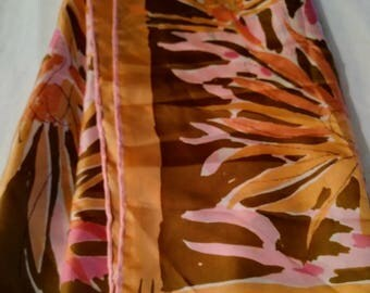 Gorgeous Silk Vintage Vera Neumann 1960s Tiger Lily Big Square Scarf