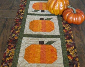 Fall Pumpins Quilted Table Runner