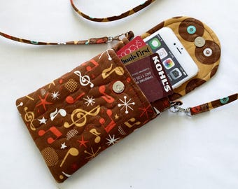 Iphone 6 Plus Smart Phone Gadget Case Music Theme Quilted Detachable Neck Strap Red White Gold Brown