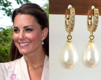 Kate Middleton Inspired White Pearl Teardrop Shell Pearl Earrings Gold/Silver Huggie Cubic Zirconia Earrings