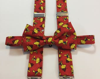 Red Woodstock Matching Bow Tie and Suspender Set for Toddler to 6-7 yr old