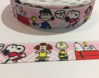 3 Yards of Ribbon - Charlie Brown Snoopy Lucy 1 inch Wide
