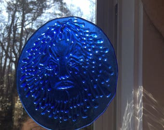Vintage Handmade in Nags Head NC Cobalt Blue Old Man Winter Face Mythology Sun Suncatcher Stained Glass Ornament HUGE Catcher