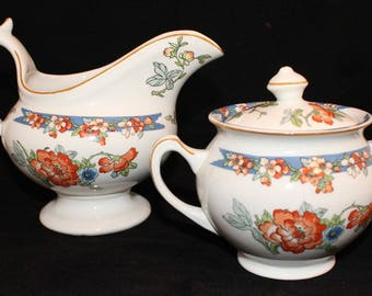 Wood & Sons England Antique Bird of Paradise Pattern SUGAR and CREAMER circa 1917