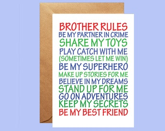 Brother Rules Greetings Card, Card for new baby, New Big Brother card, card for sister, card for brother, card from brother, boys card