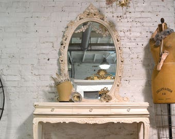 Painted Cottage Chic Shabby Romantic French Entry Way Mirror