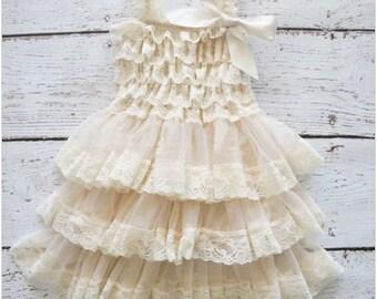 Girls toddler child 3-8 years wedding dress birthday ivory lace vintage style
