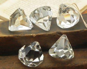 5 Glass Diamond Shape Crystal Balls Lamp Chandelier Parts Christmas Wedding Holiday Decor