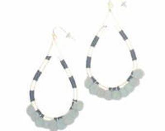 Stripe Pom Pom Earrings-Gray
