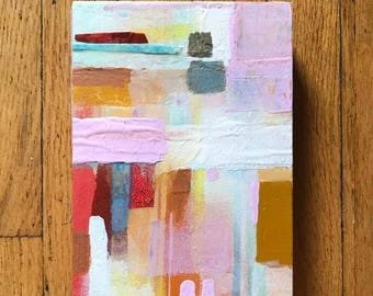 Original Multimedia Abstract Painting on Paper Mounted on Wood (2'' deep), Pink, Gray, Brown, Blue, Red Color Scheme, Ready to Hang 6 x 8