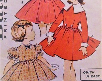 Vintage Girls Dress Sewing Pattern UNCUT Butterick 9124 Size 4
