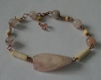 OOAK Vintage Bone & Rose Quartz Adjustable Bracelet