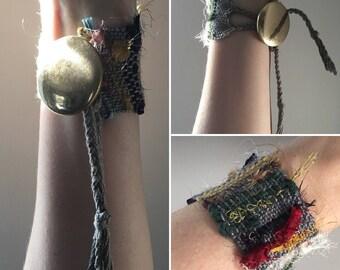 Handwoven Recycled Silk & Cotton Saori Cuff Bracelet //  gray / grey /multicolored / sustainable / zero waste / boho / upcycled