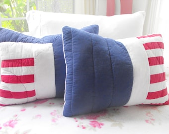 RED WHITE BLUE Quilted Fabric And Minky Pillow Set   I Love Them