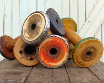"""SHIPS TOMORROW Rustic Vintage Old Chippy Paint 8 1/2 9 1/2"""" Wooden Textile Mill Spool Shabby Hygge Organize Ribbons and Trims with Wood Bobb"""