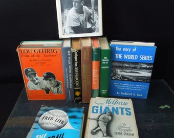 Book Collection Baseball - Foot of Books Sports Man Cave - Vintage Book Stack Mid Century Auto & Biography's