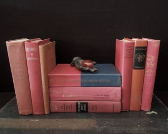 Dark Berry Red Clay Rustic Book Collection - Books by the Foot - Vintage Books by Color - Bookshelf Decor - Instant Library